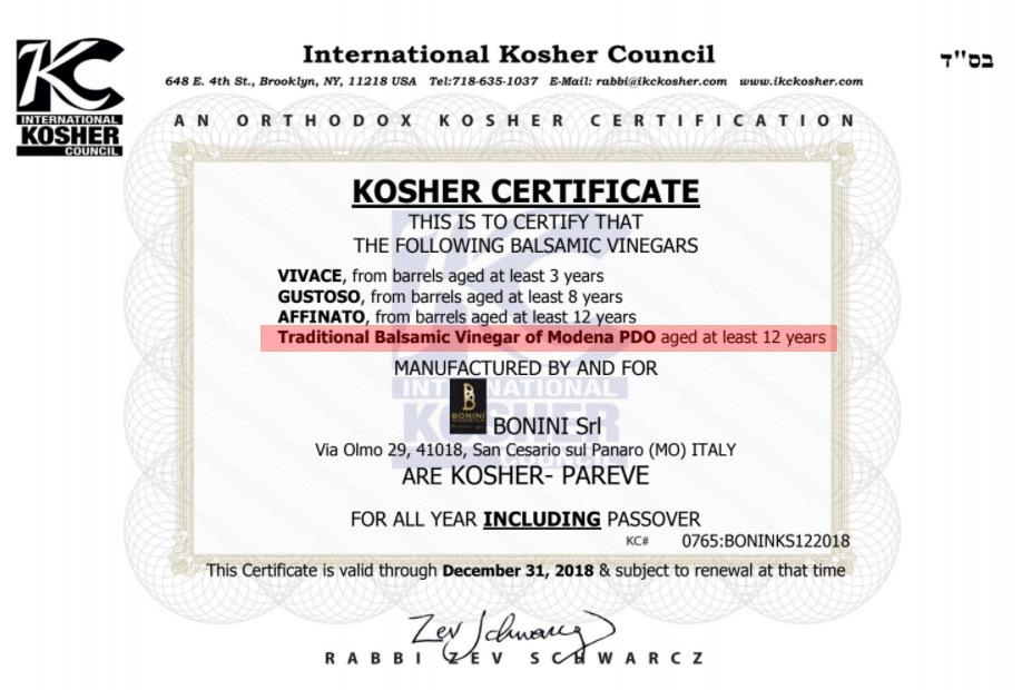 Hechscher: Balsamico Bonini - Kosher Certificate Balsamico - Zertifikat