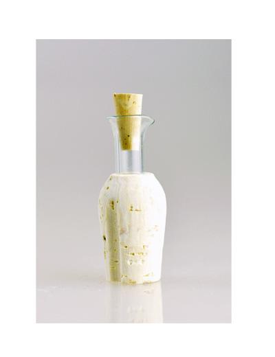 Ausgießer aus Kork und Glas mit Stopfen für Essig und Öl und Balsamico