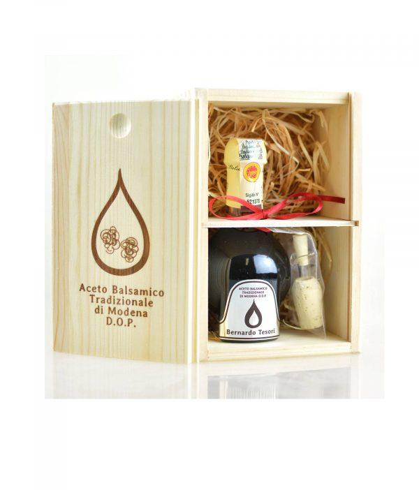 Bernardo Tesori Silber Holzbox Geschenk - Aceto Balsamico Tradizionale di Modena DOP