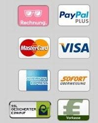 Online bestellen und sicher bezahlen mit Bezahldiensten wie Paypal, Kreditkarte (Visa & Master), Sofortüberweisung und auf Rechnung mit Klarna